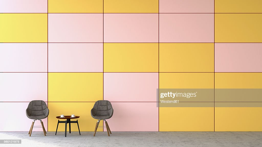 Waiting area with two chairs and a side table in front of coloured wall, 3D Rendering : stock illustration