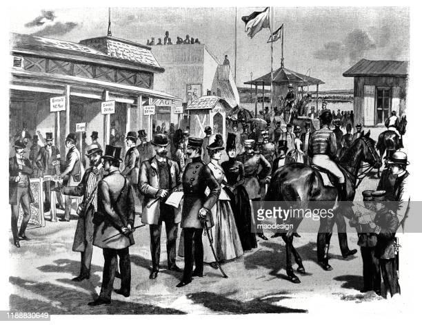 ilustrações, clipart, desenhos animados e ícones de esperando por uma corrida de cavalos - 1887