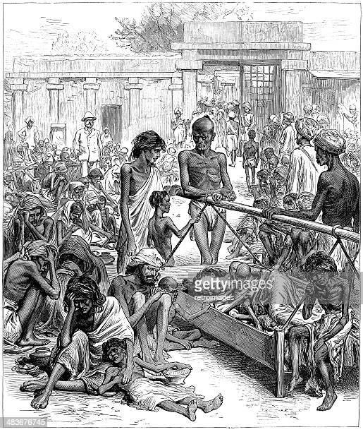 ウェイティングを飢饉リリーフ、インド、コレラ予防の浮世絵(1877 )(刻印図) - 19世紀点のイラスト素材/クリップアート素材/マンガ素材/アイコン素材