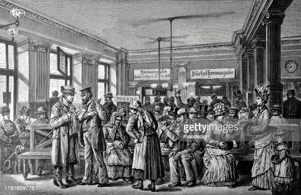 ilustrações, clipart, desenhos animados e ícones de sala de espera da biblioteca com um monte de gente - 1887