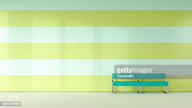 Waiting room with bench in front of striped wall