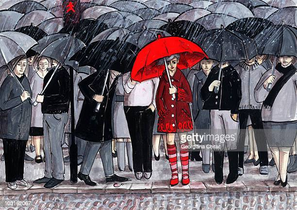 waiting to crossing street - large group of people stock illustrations