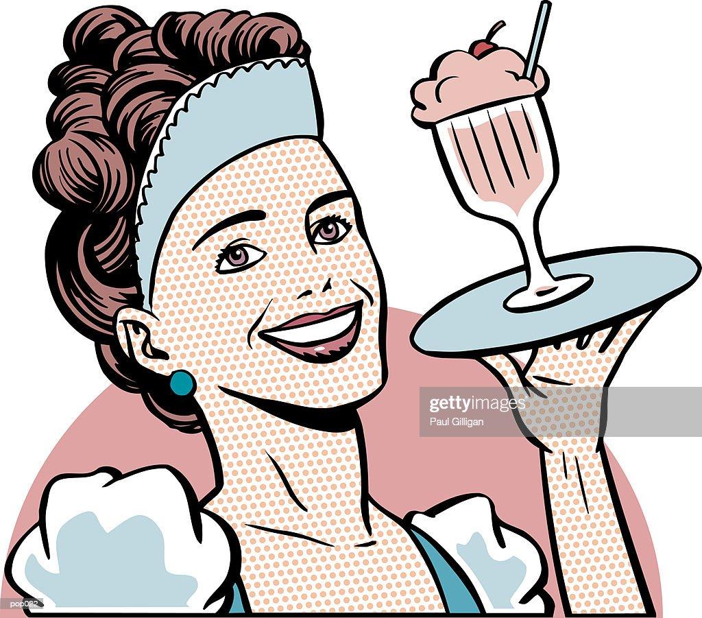 Waitress with Ice Cream : Stockillustraties