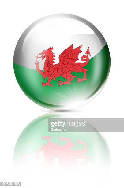wales button ball with welsh flag isolated on white - welsh flag stock illustrations