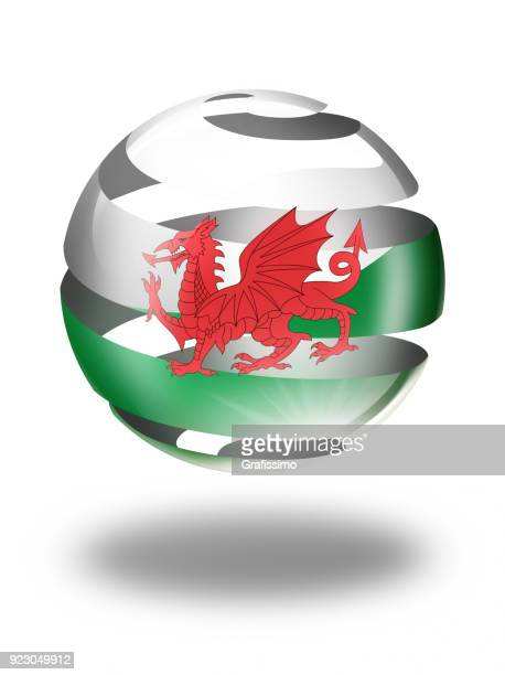 wales button sphere with welsh flag isolated on white - welsh flag stock illustrations
