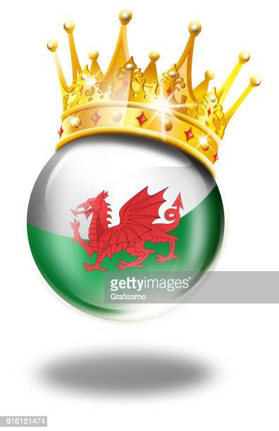 wales button with welsh flag and winner crown isolated on white - welsh flag stock illustrations