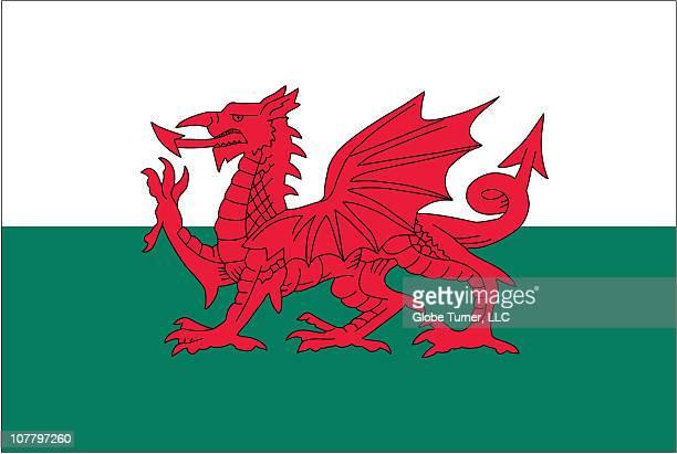 wales flag - welsh flag stock illustrations