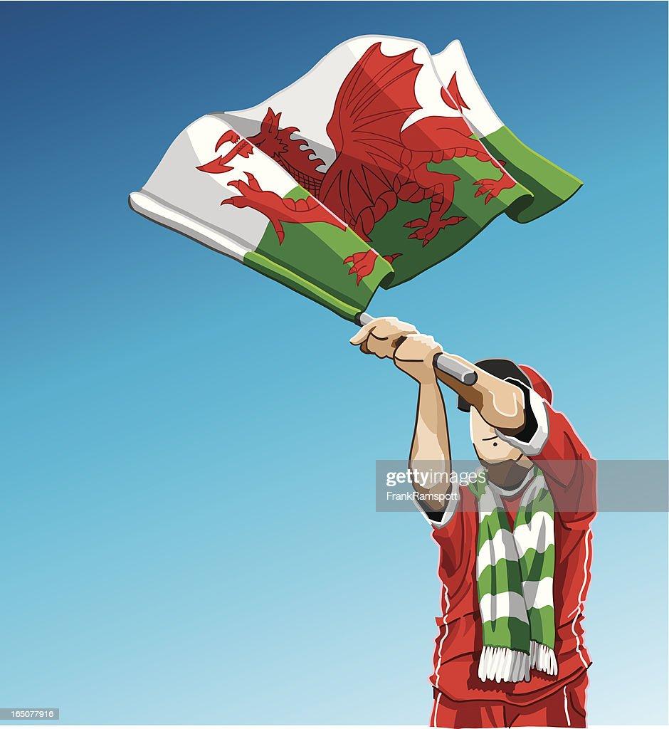 Wales Waving Flag Soccer Fan : Vector Art
