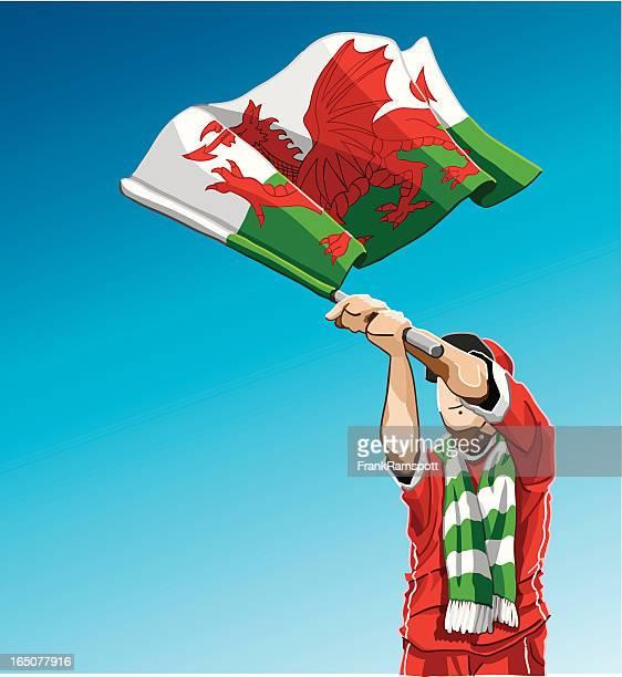 Wales Waving Flag Soccer Fan