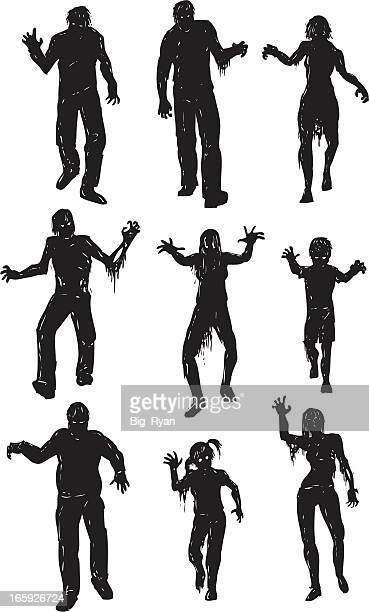 walking dead silhouette zombies - zombie stock illustrations, clip art, cartoons, & icons