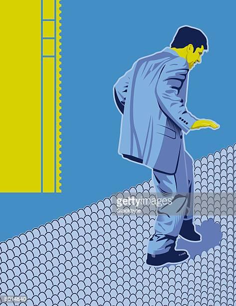 ilustraciones, imágenes clip art, dibujos animados e iconos de stock de walking on eggshells - stealth