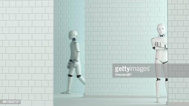 Walking robot and standing robot, 3D Rendering
