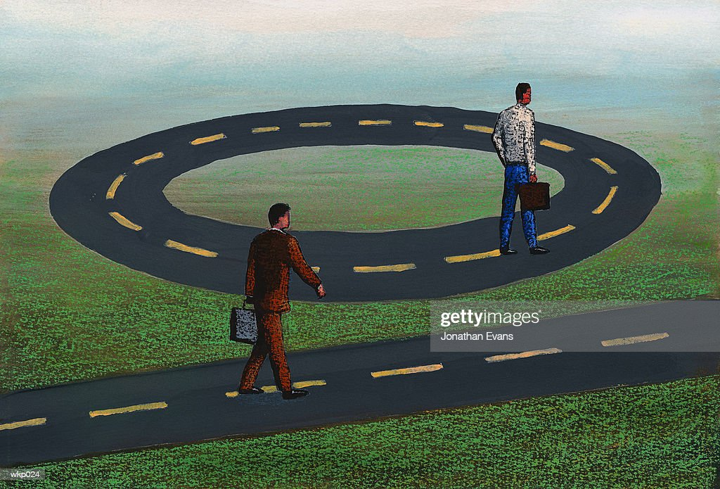 Walking Straight & in Circles : Stock Illustration