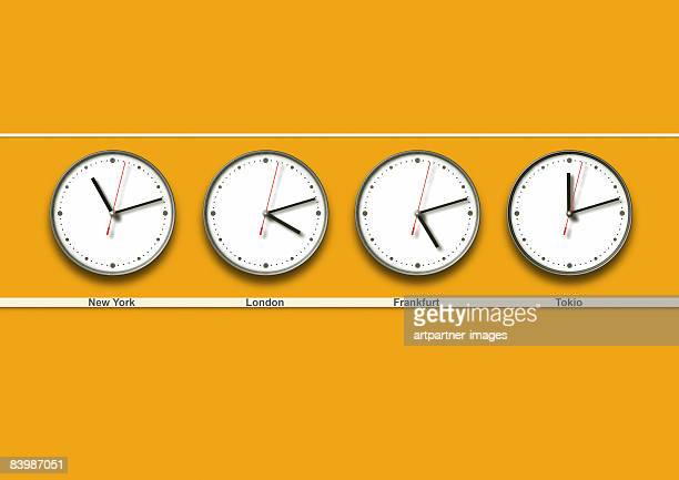 4 wall clocks with different timezones - consumerism stock illustrations