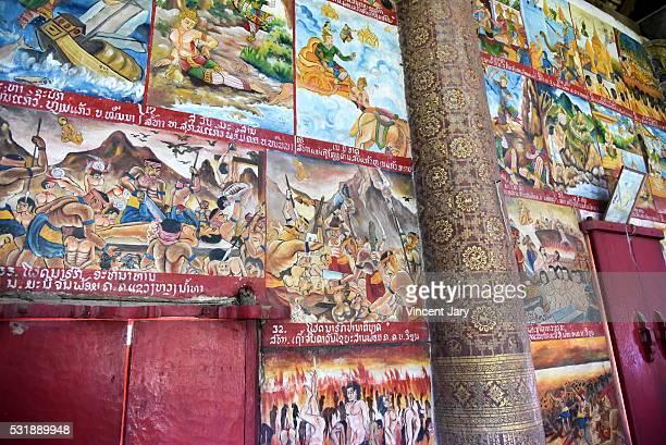 Wall illustrations Buddha's life Aham Outama Thany temple Luang Prabang Laos