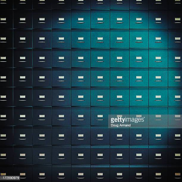 a wall of filing cabinets - filing cabinet stock illustrations, clip art, cartoons, & icons