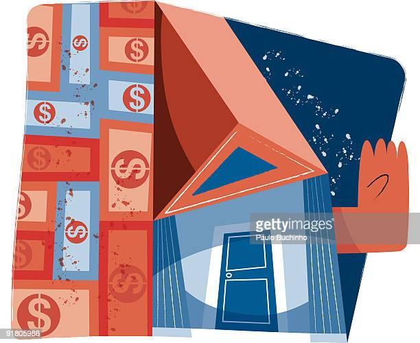a wall of money and a bank pushing its hand out - legal document stock illustrations, clip art, cartoons, & icons