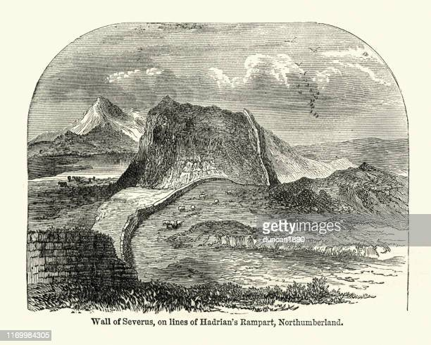wall of severus, ancient roman defensive fortification - northumberland stock illustrations, clip art, cartoons, & icons