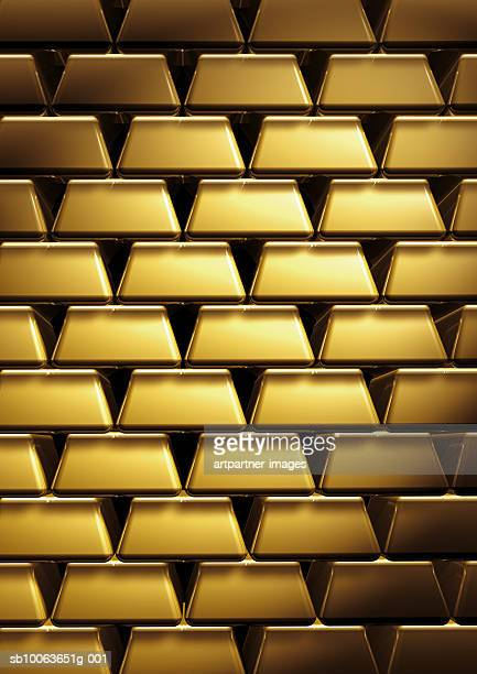 wall of stacked gold bars, full frame - stack stock illustrations