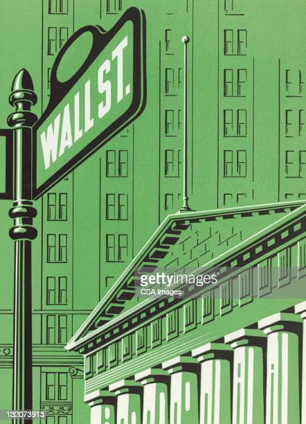 wall street - vintage stock stock illustrations