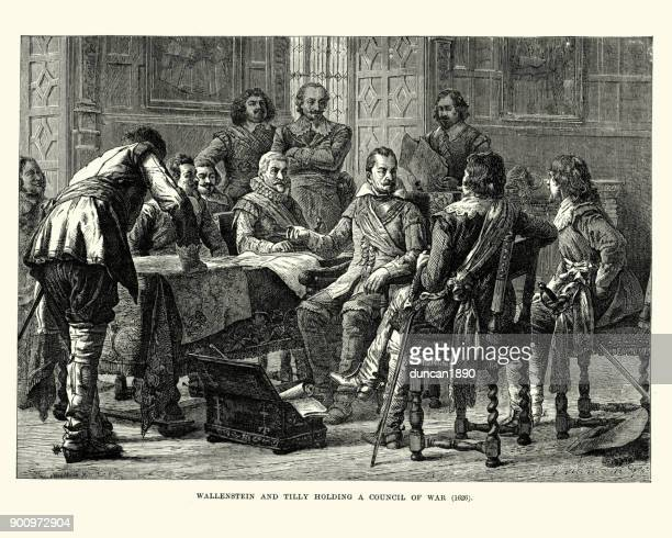 wallenstein and tilly holding a council of war, 1626 - 17th century stock illustrations, clip art, cartoons, & icons