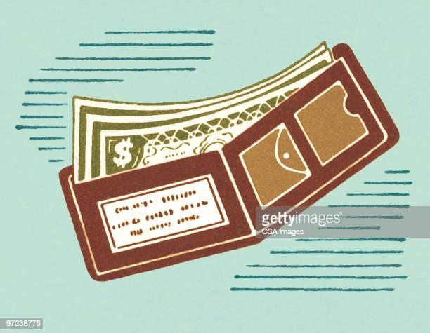 ilustraciones, imágenes clip art, dibujos animados e iconos de stock de wallet - fajo de billetes
