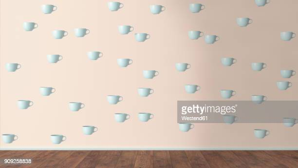 wallpaper with cup pattern and wooden floor, 3d rendering - plastic stock illustrations