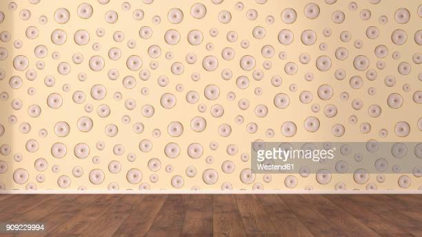 wallpaper with doughnut pattern and wooden floor, 3d rendering - hardwood floor stock illustrations, clip art, cartoons, & icons
