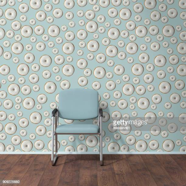 Wallpaper with doughnut pattern, single chair and wooden floor, 3D Rendering