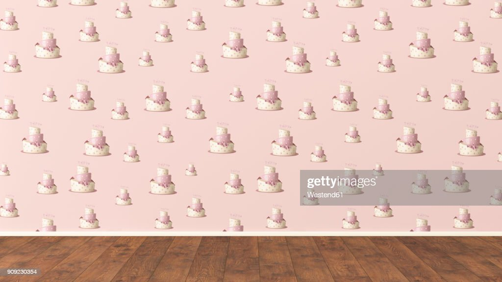 Wallpaper With Fancy Cake Pattern And Wooden Floor 3D Rendering Stock Illustration