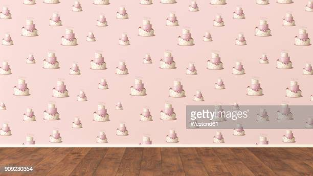 wallpaper with fancy cake pattern and wooden floor, 3d rendering - cake stock illustrations
