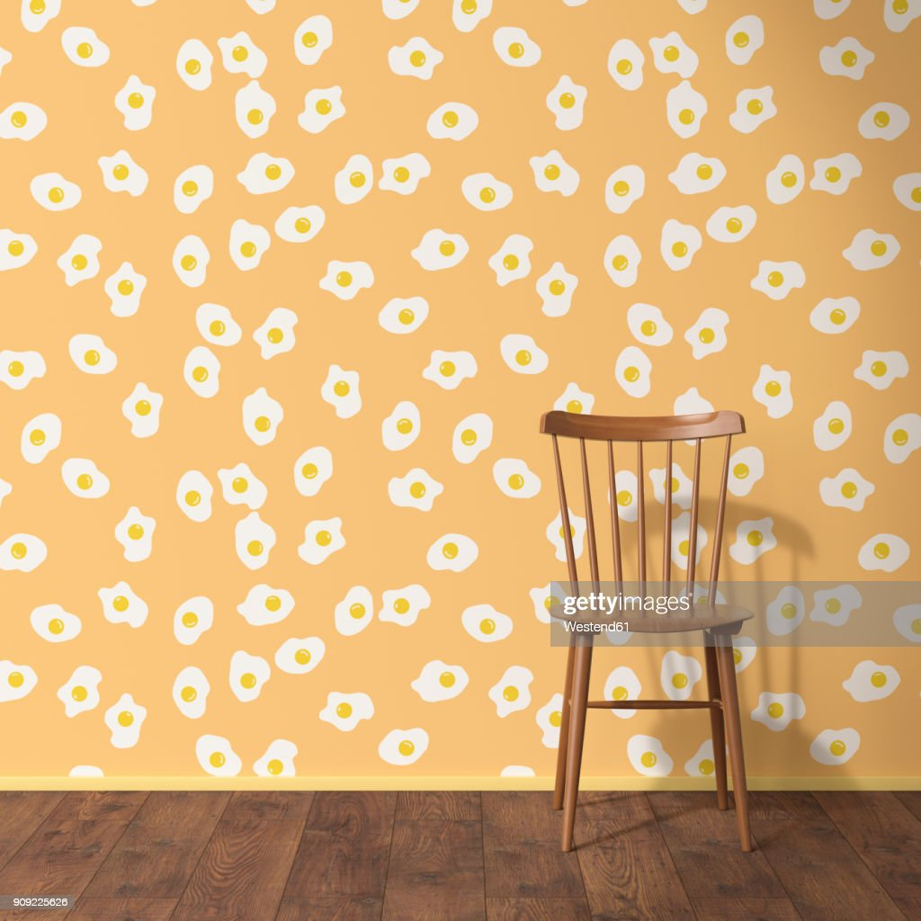 Wallpaper with fried egg pattern wood chair and wooden floor 3D Rendering  Stock  sc 1 st  Getty Images & Wallpaper With Fried Egg Pattern Wood Chair And Wooden Floor 3d ...