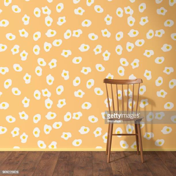 Wallpaper with fried egg pattern, wood chair and wooden floor, 3D Rendering