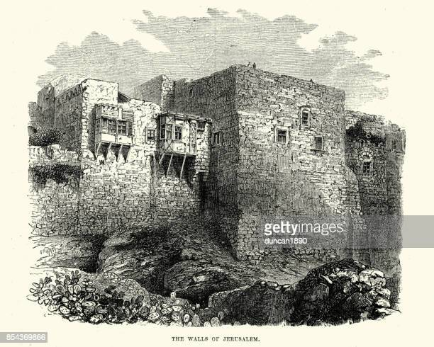 walls of jerusalem, 18th century - jerusalem stock illustrations, clip art, cartoons, & icons