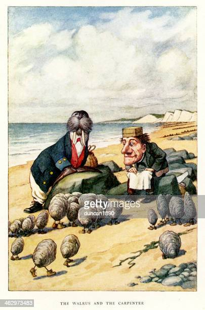 walrus and the carpenter - carpenter stock illustrations