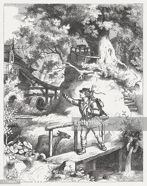 Wanderer in the past, wood engraving, published in 1871
