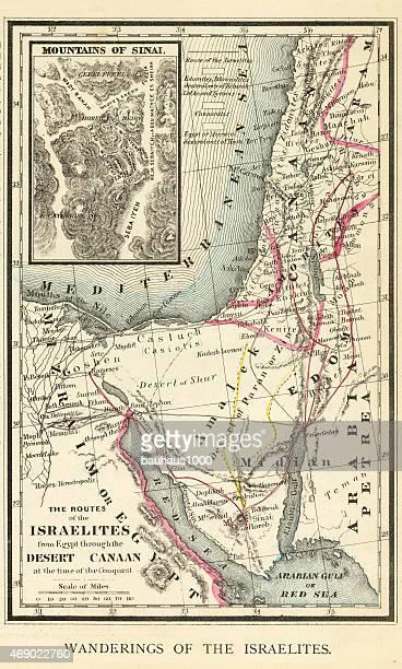 wanderings of the israelites map engraving - new testament stock illustrations