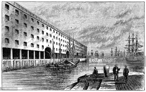 wapping dock in liverpool, england - 19th century - merseyside stock illustrations