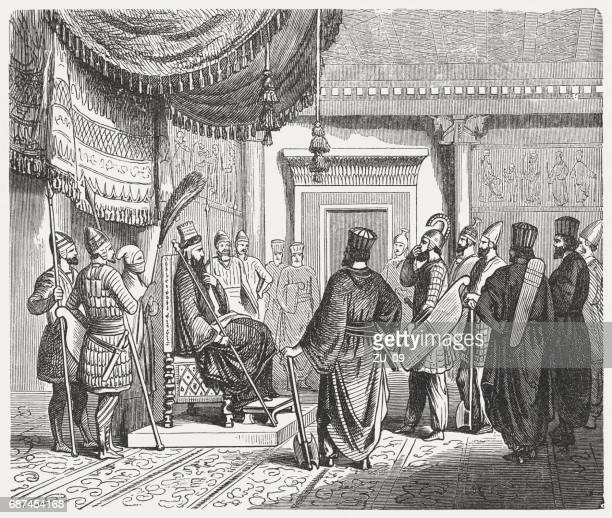 war council with the persian king in antiquity, published 1880 - ancient babylon stock illustrations