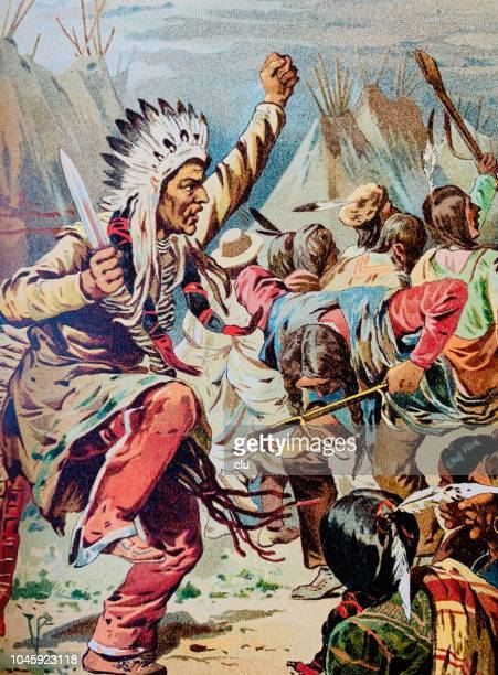 war dance of the sioux indians - sioux culture stock illustrations