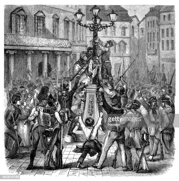 war minister count latour is hanged from a lampost during the riots in vienna uprising,1848 - 1840 1849 stock illustrations