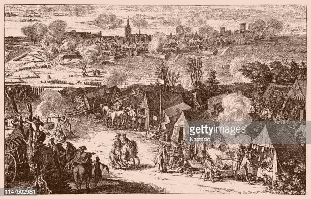 war of th spanish succession 1700 - 1714 netherlands siege of nijmegen 1702 - nijmegen stock illustrations