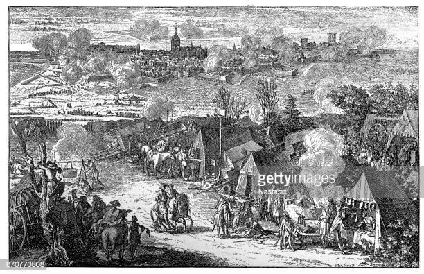 war of th spanish succession 1700 - 1714 netherlands siege of nijmegen 1702 - human settlement stock illustrations, clip art, cartoons, & icons