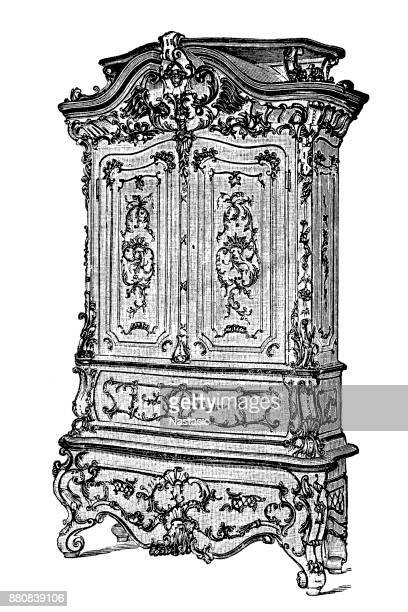 Wardrobe on white background with gilding, Baroque style