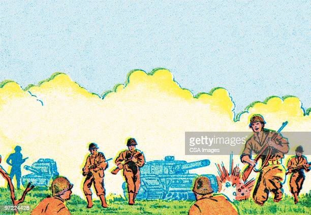 warfare - army soldier stock illustrations