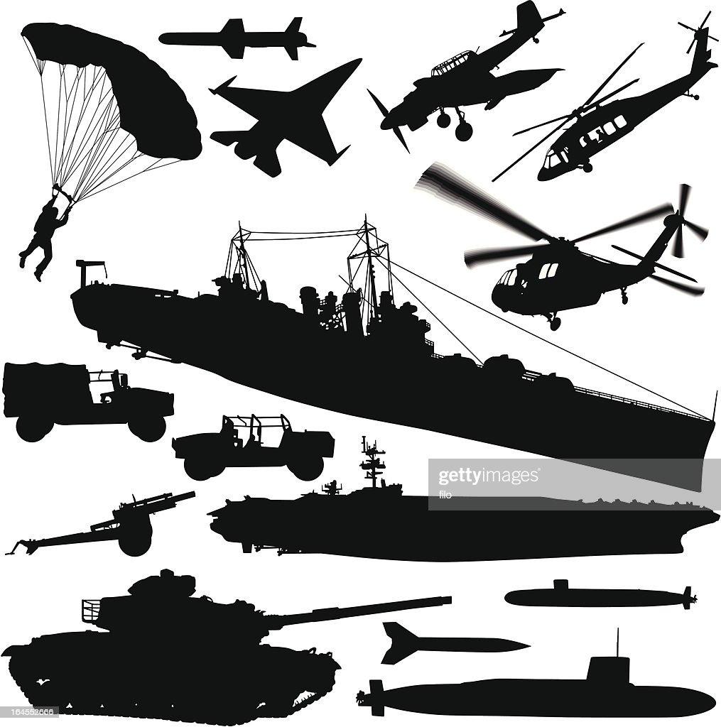 Warfare Silhouette Elements : stock illustration