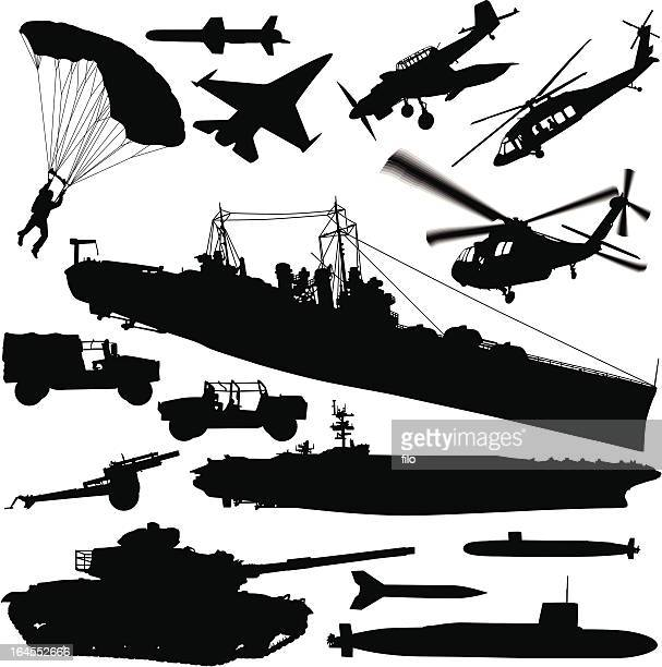 warfare silhouette elements - us military stock illustrations, clip art, cartoons, & icons