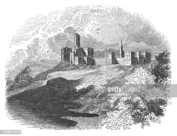 warkworth castle in warkworth, northumberland, england - northumberland stock illustrations, clip art, cartoons, & icons