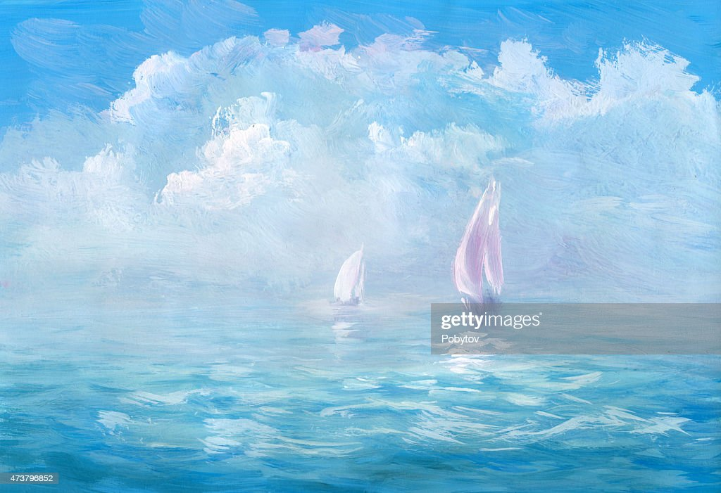 Warm sea - wash drawing : stock illustration