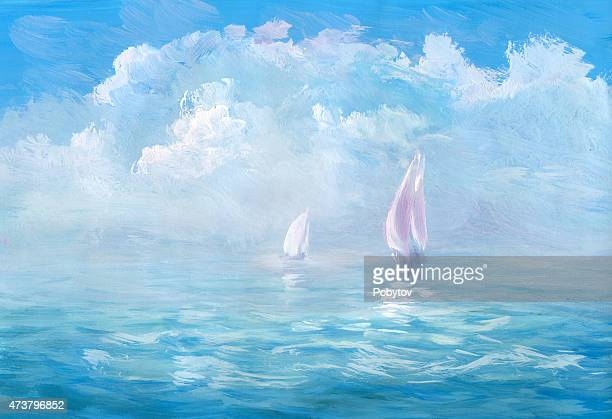 Warm sea - wash drawing